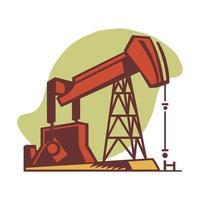 Ölbohrturm auf weißem Hintergrund vektor