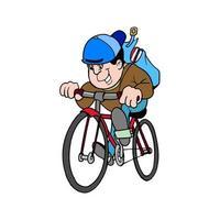 glücklicher Schüler, der Fahrrad zur Schule fährt vektor