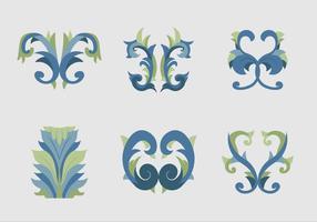 Acanthus flache Design blaue Blumenvektoren