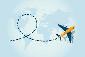 Flugzeug fliegt auf der Erde vektor