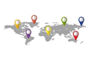 Punkte Weltkarte mit Stiften