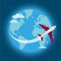 Flugzeug um die Welt reisen vektor