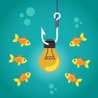Glühbirne am Angelhaken, umgeben von Fischen vektor