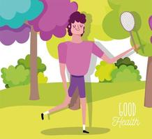 ung man som spelar tennis i parken vektor