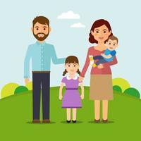lycklig familj i parken