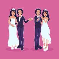 bröllopspar gift karaktärer vektor