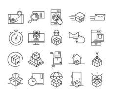 Lieferung und Logistik Umriss Piktogramm Icon Pack