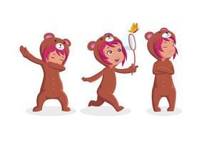 liten flicka som bär björnkostymsamling vektor