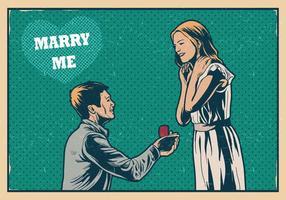 Heiraten Sie mich Weinlese-Karte vektor