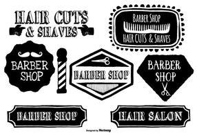 Söta Handdragen Barber Shop Etiketter vektor