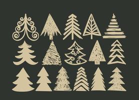 Handdragen julgran vektor uppsättning