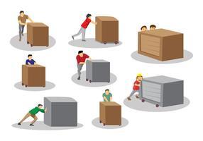 Man Pushing Box Vektoren