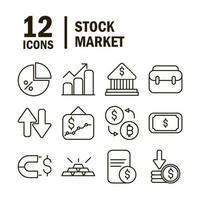 aktiemarknad och finansiella piktogram ikonsamling vektor