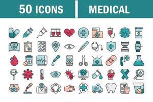 uppsättning av medicinska och hälso-och sjukvård utrustning linje och fylla ikoner