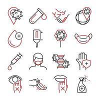 Sammlung von medizinischen Versorgung und Virusinfektion zweifarbige Piktogramm-Symbole