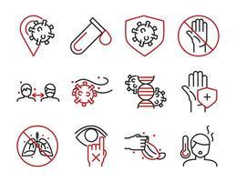 Packung medizinische Versorgung und Virusinfektion zweifarbige Piktogramm-Symbole