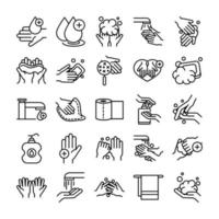 handhygien och infektion kontroll piktogram ikon insamling vektor