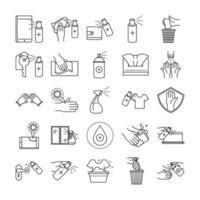 Reinigungs- und Desinfektionsumriss-Piktogramm-Symbolsatz