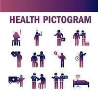 Gesundheitspiktogramm und medizinische Symbolsammlung auf Farbverlaufsfarbe