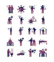 Gesundheitspiktogramm und medizinisches Symbolpaket auf Farbverlaufsfarbe