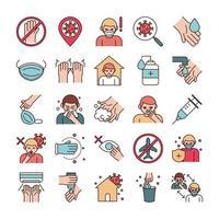 Linie zur Verhinderung von Virusinfektionen und Füllpiktogramm-Symbolpaket