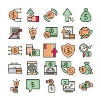 ekonomi och investeringar affärslinje och fylla färg Ikonuppsättning vektor