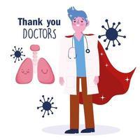 Arzt mit einer Umhanggrußkartenschablone