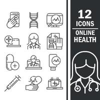 online hälsa och medicinsk hjälp Ikonuppsättning vektor