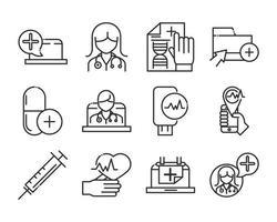 online hälsa och medicinsk hjälp ikon pack vektor