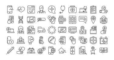 online-hälsa och medicinsk hjälp ikon insamling vektor
