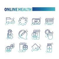 online hälsa och medicinsk hjälp ikonuppsättning på lutning stil vektor
