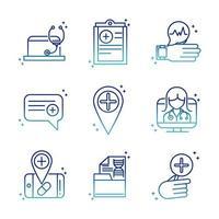 Online-Symbolsammlung für Gesundheit und medizinische Hilfe auf Farbverlaufsstil vektor