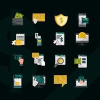 online betalning och finansierar platt stil ikonuppsättning på svart bakgrund vektor