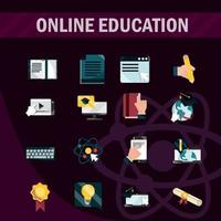 online-utbildning platt-ikonsamling på mörk bakgrund vektor