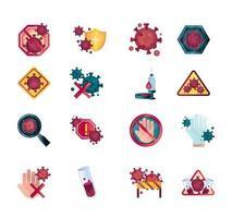 coronavirus och virusinfektionskontroll Ikonuppsättning