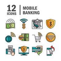mobilbank och online betalningslinje och ikonuppsättning för fyllning