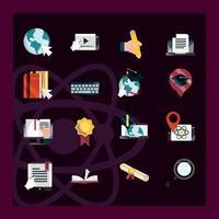 online-utbildning platt stil ikonuppsättning på mörk bakgrund vektor