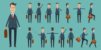 uppsättning av affärsmän i olika positioner vektor