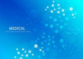 medizinische und wissenschaftliche Molekülstruktur auf blauem Hintergrund vektor