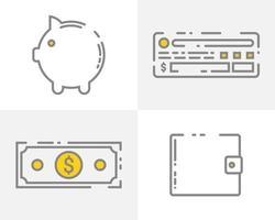 uppsättning pengar ikoner vektor