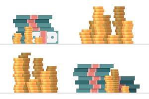 uppsättning pengar högar