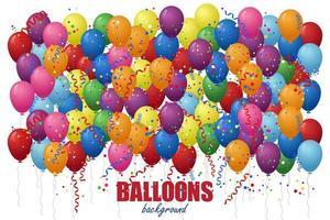 Luftballons mit Confettis Hintergrund.