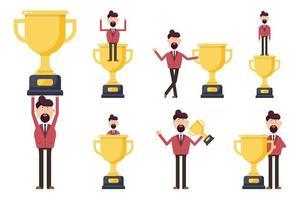 affärsman innehar vinnare trofé