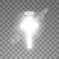 leuchtend weißes Kreuz und weißer Halo-Engelsring vektor