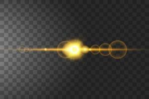isolierte Sonnenblitze und Scheinwerfer vektor