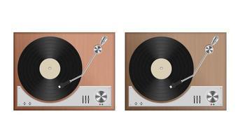 uppsättning vintage skivspelare vektor