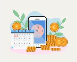 pengar tidshantering på mobil skärm vektor