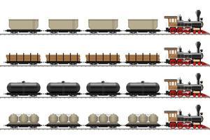 gamla lokomotiv och vagnar isolerade