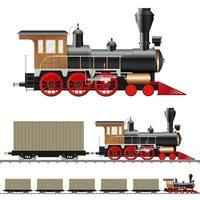 antike Dampflokomotive und Wagen isoliert vektor