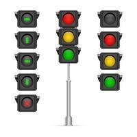 uppsättning trafikljus isolerade